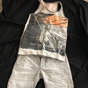 American eagle men's tank and Jean shorts